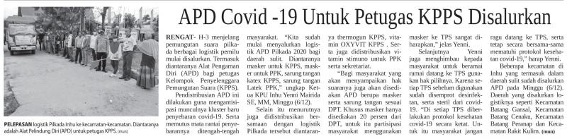 APD Covid - 19 Untuk Petugas KPPS Disalurkan