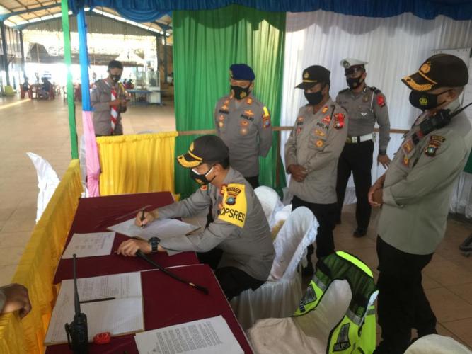 Cek Kesiapan Operasi Lilin, Kapolres Bintan Ingatkan Anggota Covid-19