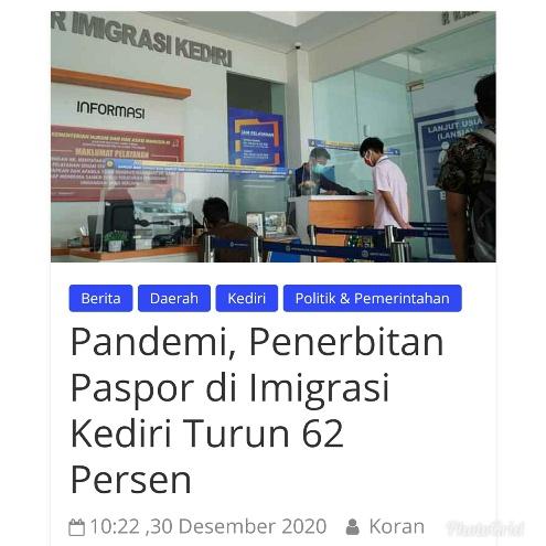 Pandemi, Penerbitan Paspor di Imigrasi Kediri Turun 62 Persen