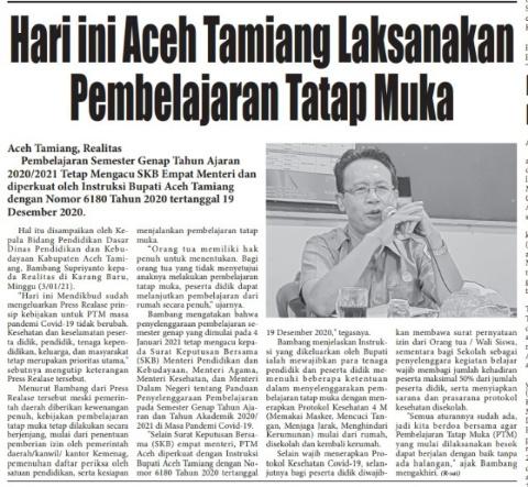 Besok Aceh Tamiang Laksanakan Pembelajaran Tatap Muka