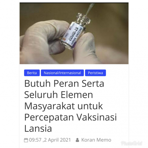 Butuh Peran Serta Seluruh Elemen Masyarakat untuk Percepatan Vaksinasi Lansia