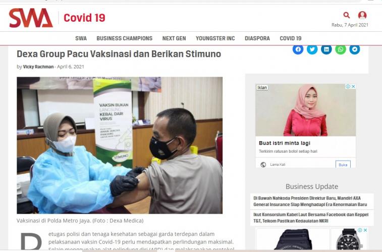 Dexa Group Pacu Vaksinasi dan Berikan Stimuno