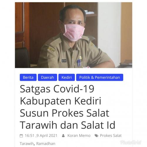 Satgas Covid-19 Kab. Kediri Susun Prokes Salat Tarawih dan Salat Id
