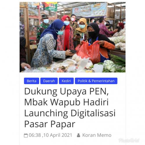 Dukung Upaya PEN, Mbak Wapub Hadiri Launching Digitalisasi Pasar Papar