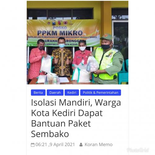 Isolasi Mandiri, Warga Kota Kediri Dapat Bantuan Paket Sembako