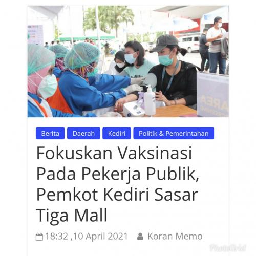 Fokuskan Vaksinasi Pada Pekerja Publik, Pemkot Kediri Sasar Tiga Mall