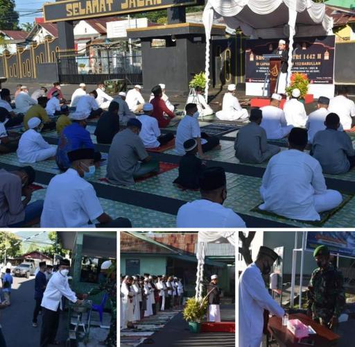 Gelar Sholat Idul Fitri, Korem 152/Babullah Tetap Menerapkan Protokol Kesehatan