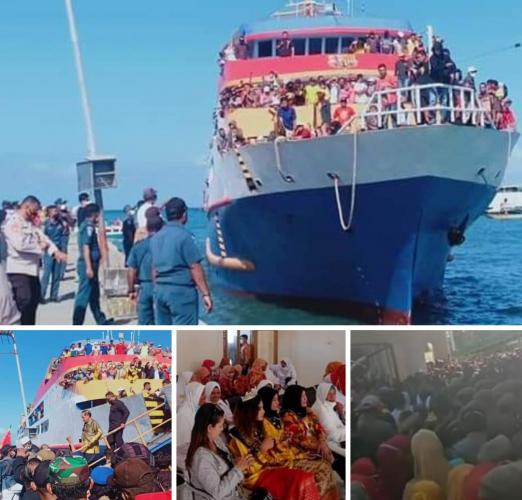 Abaikan Protokol Kesehatan, Ratusan Pendukung Sambut Bupati dan Wakil Bupati di Pelabuhan Sanana