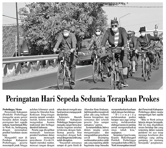 Peringatan Hari Sepeda Sedunia Terapkan Prokes