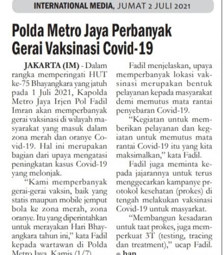 Polda Metro Jaya Perbanyak Gerai Vaksinsi Covid 19