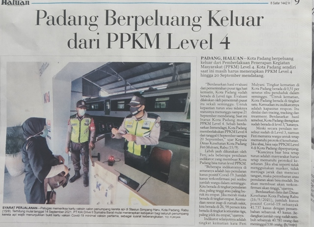 Padang Berpeluang Keluar dari PPKM Level 4