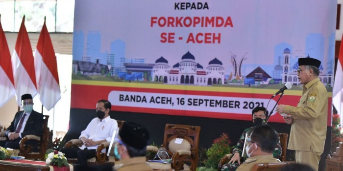Gubernur Nova Laporkan Upaya Penanganan Covid-19 di Aceh ke Presiden