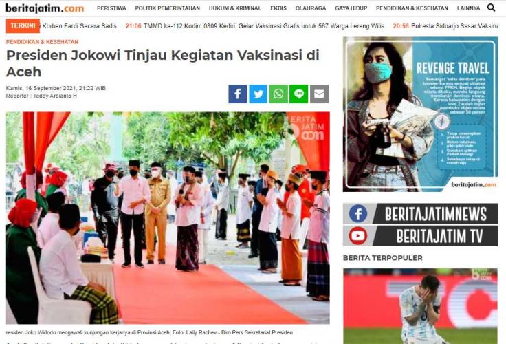 Presiden Jokowi Tinjau Kegiatan Vaksinasi di Aceh