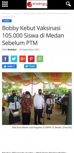 Bobby Kebut Vaksinasi 105.000 Siswa di Medan Sebelum PTM