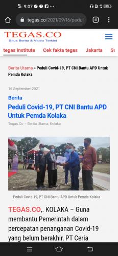Peduli Covid-19, PT CNI Bantu APD Untuk Pemda Kolaka