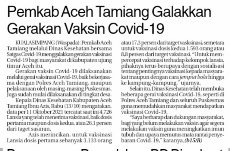 Pemkab Aceh Tamiang Galakkan Gerakan Vaksin Covid-19