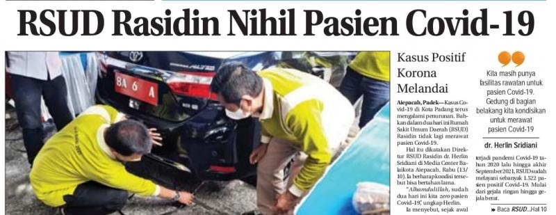 RSUD Rasidin Nihil Pasien Covid-19, Kasus Positif Korona Melandai