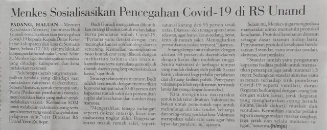 Menkes Sosialisasikan Pencegahan Covid-19 di RS Unand