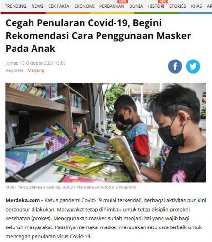 Cegah Penularan Covid-19, Begini Rekomendasi Cara Penggunaan Masker Pada Anak