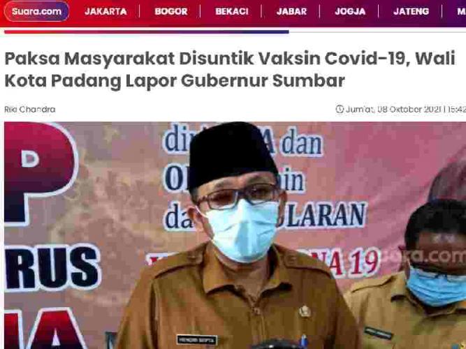 Paksa Masyarakat Disuntik Vaksin Covid-19, Wali Kota Padang Lapor Gubernur