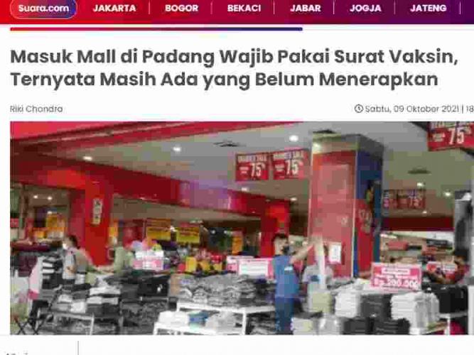 Masuk Mall di Padang Wajib Pakai Surat Vaksin, Ternyata Masih Ada yang Belum Menerapkan