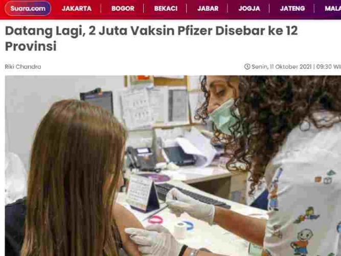 Datang Lagi, 2 Juta Vaksin Pfizer Disebar ke 12 Provinsi