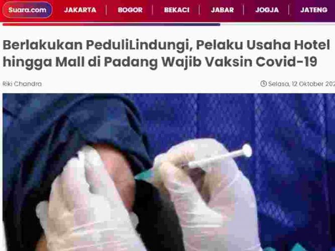 Berlakukan PeduliLindungi, Pelaku Usaha Hotel hingga Mall di Padang Wajib Vaksin Covid-19