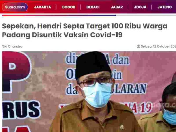 Sepekan, Hendri Septa Target 100 Ribu Warga Padang Disuntik Vaksin Covid-19